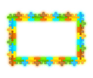 Color glossy brilliant jazzy puzzle frame 12 x 8. Colored, glossy, brilliant and jazzy puzzle frame 6 x 8 format with shadow Stock Image