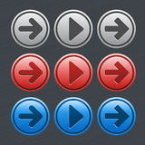 Color glossy buttons with arrows Stock Photo