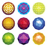 Color glossy faceted spheres. Color glossy faceted spheres, globes and gems set Royalty Free Stock Photos