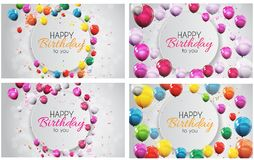 Color Glossy Happy Birthday Balloons Banner Background Collection Set Vector Illustration. EPS10 Stock Photography