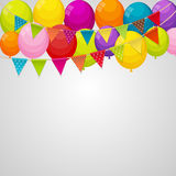 Color Glossy Happy Birthday Balloons Banner Background with Part Stock Photo