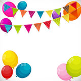 Color Glossy Happy Birthday Balloons Banner Background with Part Stock Photos