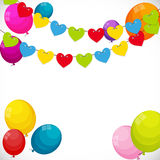 Color Glossy Happy Birthday Balloons Banner Background with Part Royalty Free Stock Photography