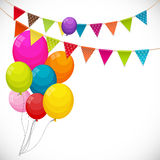 Color Glossy Happy Birthday Balloons Banner Background with Part Royalty Free Stock Image