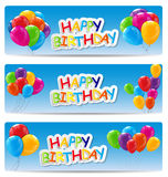 Color Glossy Happy Birthday Balloons Banner Background Vector Il Stock Photography