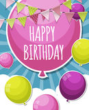 Color Glossy Happy Birthday Balloons Banner Background Vector Il Stock Photo
