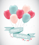 Color Glossy Happy Birthday Balloons Banner Background Vector Il Royalty Free Stock Photo