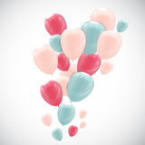 Color Glossy Happy Birthday Balloons Banner Background Vector Il Stock Image