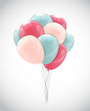 Color Glossy Happy Birthday Balloons Banner Background Vector Il Royalty Free Stock Photos