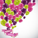 Color Glossy Happy Birthday Balloons Banner Background Vector Il Stock Images