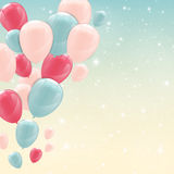 Color Glossy Happy Birthday Balloons Banner Background Vector Il Royalty Free Stock Images