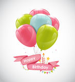 Color Glossy Happy Birthday Balloons Banner Background Vector Il Royalty Free Stock Photography