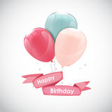 Color Glossy Happy Birthday Balloons Banner Background Vector Il Royalty Free Stock Image