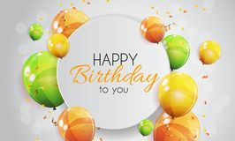 Color Glossy Happy Birthday Balloons Banner Background Vector Illustration Stock Image