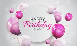 Color Glossy Happy Birthday Balloons Banner Background Vector Illustration Stock Photos
