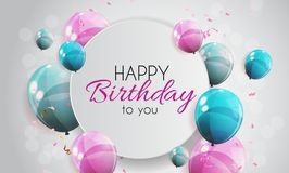 Color Glossy Happy Birthday Balloons Banner Background Vector Illustration Royalty Free Stock Photos