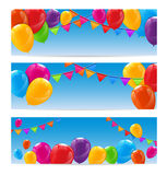 Color Glossy Happy Birthday Balloons Banner Background. Vector Illustration Royalty Free Stock Images