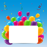 Color Glossy Happy Birthday Balloons Banner Background. Vector Illustration Royalty Free Stock Photography