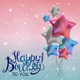 Color Glossy Happy Birthday Balloons Banner Background Vector Illustration. EPS10 Stock Photos
