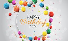 Color Glossy Happy Birthday Balloons Banner Background Vector Illustration. EPS10 Royalty Free Stock Images