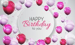 Color Glossy Happy Birthday Balloons Banner Background Vector Illustration. EPS10 Stock Images