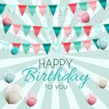 Color Glossy Happy Birthday Balloons Banner Background Vector Illustration. EPS10 Royalty Free Stock Photo