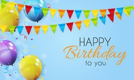 Color Glossy Happy Birthday Balloons Banner Background Vector Illustration. EPS10 Stock Image
