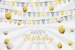 Color Glossy Happy Birthday Balloons Banner Background Vector Illustration. EPS10 Stock Photo