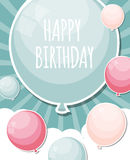 Color Glossy Happy Birthday Balloons Banner Background Vector Royalty Free Stock Photo