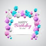 Color Glossy Happy Birthday Balloons Banner Background Vector Illustration. EPS10 Royalty Free Stock Photos