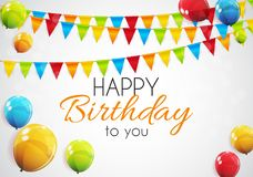 Color Glossy Happy Birthday Balloons Banner Background Vector Illustration. EPS10 Stock Photography