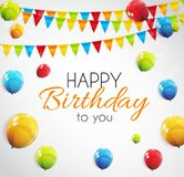 Color Glossy Happy Birthday Balloons Banner Background Vector Illustration. EPS10 Royalty Free Stock Image