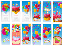 Color Glossy Happy Birthday Balloons and Cake Banner Set Backgro Stock Photography