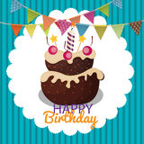 Color Glossy Happy Birthday Balloons, Flags and Cake Banner Back Stock Photo