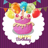 Color Glossy Happy Birthday Balloons, Flags and Cake Banner Back Royalty Free Stock Photos
