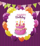 Color Glossy Happy Birthday Balloons, Flags and Cake Banner Back. Ground Vector Illustration EPS10 Stock Photography