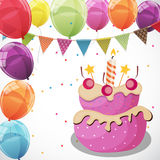 Color Glossy Happy Birthday Balloons, Flags and Cake Banner Back. Ground Vector Illustration EPS10 Stock Photos