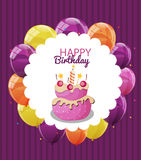 Color Glossy Happy Birthday Balloons, Flags and Cake Banner Back. Ground Vector Illustration EPS10 Royalty Free Stock Images