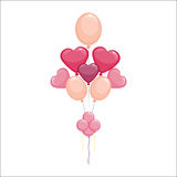 Color glossy hearts balloons vector illustration. Royalty Free Stock Images