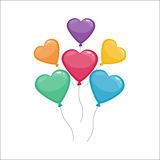 Color glossy hearts balloons vector illustration. Stock Photos