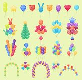 Color glossy party balloons vector illustration set. Round entertainment holiday festival air balls happy gift. Beautiful ballon toy party day celebrate Stock Image