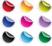 Color glossy stickers in jaggies with reflection stock photo