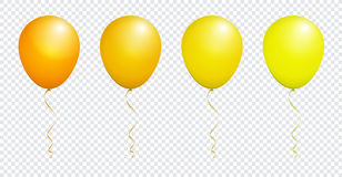 Color Glossy Yellow Balloon isolated on White in Vector Set. EPS 10 Royalty Free Stock Images