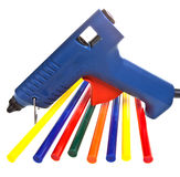 Color glutinous cores for the glutinous gun. Intsrument for repair and design works - the glutinous gun and color cores Royalty Free Stock Photos
