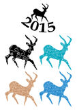 Color goats - symbol of chinese 2015 year - vector Royalty Free Stock Photography