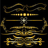 Color Gold Vintage Decorations Elements Flourishes Calligraphic Ornaments and Frames Black background Royalty Free Stock Image