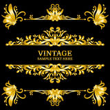 Color Gold Vintage Decorations Elements. Flourishes Calligraphic Ornaments and Frames. Retro Style Stock Photography