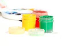Color gouache in bottle painting. Color gouache in three colour. Color in bottle painting Stock Photos