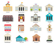 Color government buildings icons set. In flat design style, vector illustration. Includes school, hospital, police, fire station, day care, university etc vector illustration