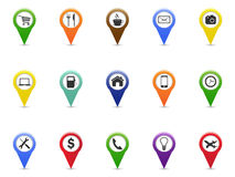 Color GPS and Navigation pointer icons set Stock Images